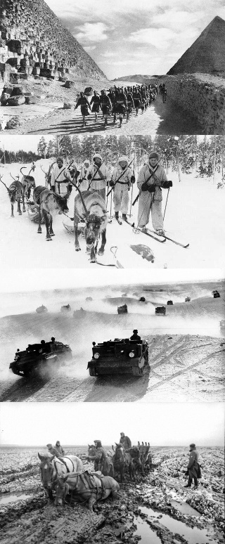 Top to bottom: Cameron Highlanders and Indian troops march past the Great Pyramid (1940); Finnish soldiers on skis with reindeers, near Jäniskoski, Finland (1940); A squadron of Bren gun carriers, manned by the Australian Light Cavalry (1941); German horse-drawn cart stuck in rasputitsa near Kursk, Russia (1942).